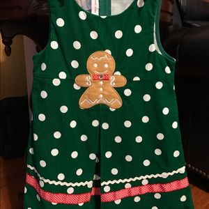 Bonnie Jean Girls Gingerbread Man Christmas Holiday Fleece Jumper Dress 2T 3T 4T